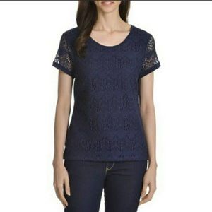 89th and Madison blue lace top small